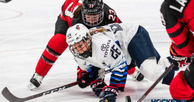 Kendall Coyne Schofield of the Women's National Team (Team USA) takes a face-off against Canada. (Photo by Michael Caples/MiHockey)