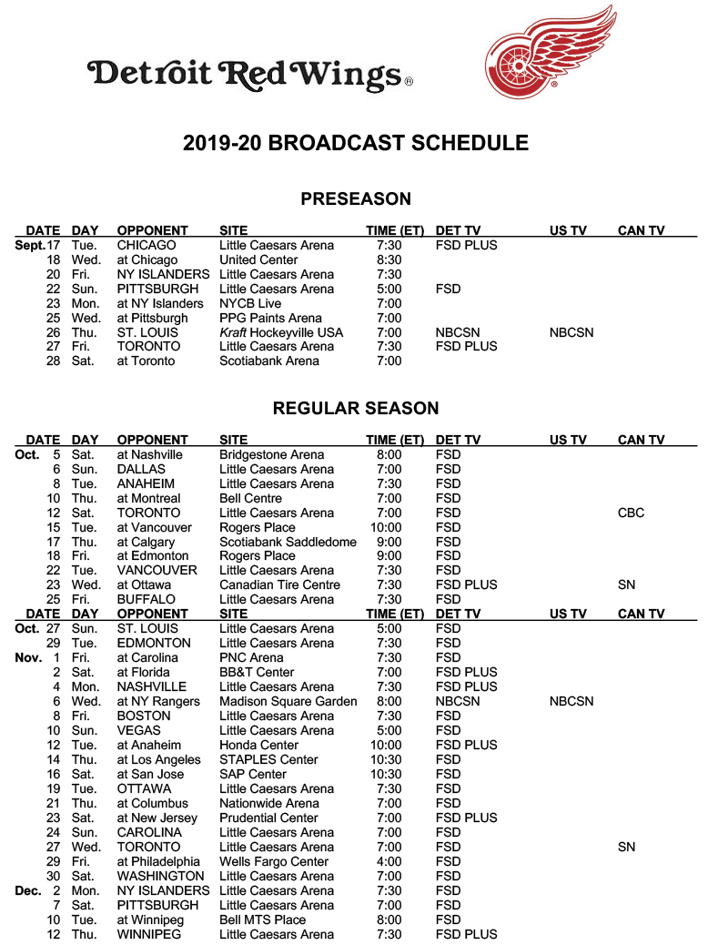 Red Wings announce 2019-2020 broadcast schedule