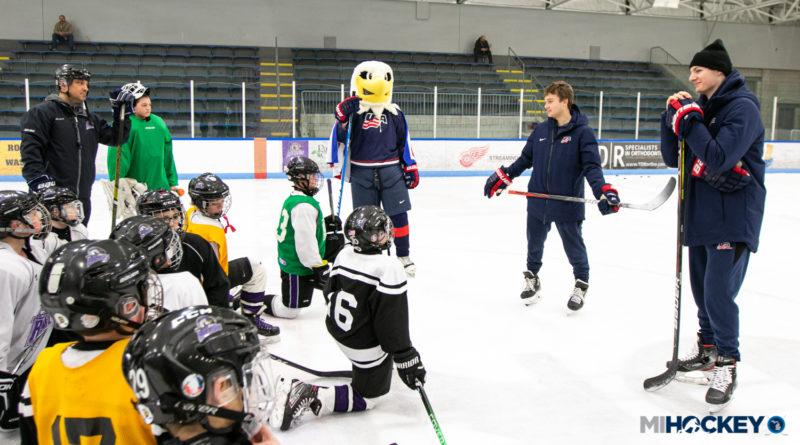 PHOTOS: NTDP's Bordeleau, McKown (and Rushmore) surprise youth players in Macomb and Rochester