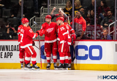 Red Wings rebound to split opening series with Canes